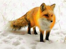 Photo Painting Red Fox Winter Snow Cute Large Art Print Poster Lf1693