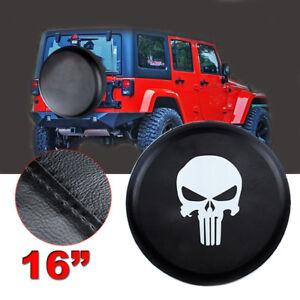 "16"" Skull Spare Tire Wheel Cover 30""- 31"" For Jeep Liberty Wrangler black Size L"
