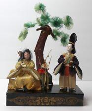 Antique Hina Ningyo Japanese Doll Lot of 2 On A Wood Platform Under The Tree