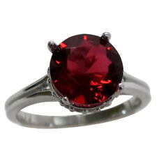 DELIGHTFUL 4 CT RUBY 925 STERLING SILVER RING SIZE 5-10