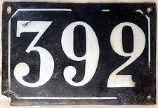 Large old black French house number 392 door gate plate plaque enamel metal sign