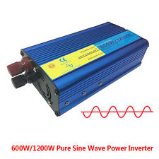 PURE SINE WAVE 600W peak 1200W 12V-240V POWER INVERTER CAR CARAVAN CAMPING BOAT
