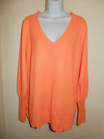 J.CREW COLLECTION 100% CASHMERE NEON CORAL V-NECK LONG SLEEVE SWEATER XXL