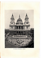 """1903 Antique Art Photo Print St. Paul's Cathedral London Dodd Mead Co. 10"""" X 6"""""""