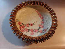 Deruta ARS Italy Ceramic Gorgeous Robins Egg Blue Bowl Gold Ruffled Pink Flowers