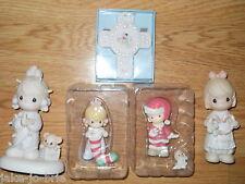 Set of 5 Christmas PRECIOUS MOMENTS Girl Figures Nativity Boy Girl Ornaments NEW