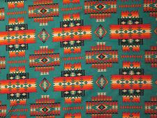Navajo Indian Multi II Orange Black Teal Print Cotton Fabric FQ
