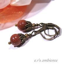 Ohrringe mit GOLDFLUSS-Perlen, Bronze-Vintage-Look, Ohrhänger, 0619