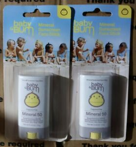 2 Hypoallergenic Baby Bum Mineral Sunscreen Face Stick SPF 50 New Sealed 11/2021
