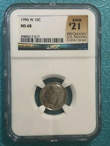 1996-W Roosevelt Dime NGC MS68 ! #21 Greatest U.S. Modern Coins! Great Bands!