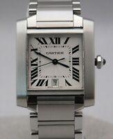 Cartier Tank Francaise 2302 W51002Q3 Largest Size Automatic SS Mens Watch...28mm