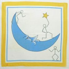 """Vintage Ray Strauss Moon/Star Whimsical  24"""" 100% Cotton Scarf Made in Japan"""