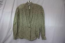 NWT PAUL STANLEY Gray Floral 100% Silk Blouse Womens Size 6 Korea-B5