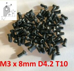 10xScrews M3x8 T10 SERDI ROTTLER SUNNEN Lathe Milling CNC Carbide Inserts
