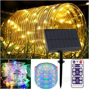 200 LED Solar Strip Fairy Rope Tube String Lights Lamp Xmas Party Garden Decor