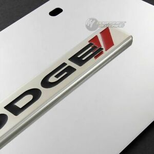 For DODGE Stripes Logo Front Mirror Stainless Steel License Plate Frame- GENUINE