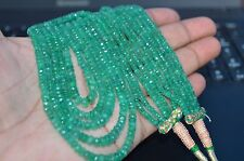 """Ebay 300 ct 5 Strand Natural Of Precious Emerald Roundel Beads 16"""" Necklace AA1"""