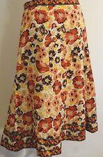 Antonio Melani Skirt Size 8 Floral Brown Orange Yellow Beige White Lined Cotton