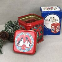 Penguins Tins Wicks'n Wax Vintage 1984 Scented Candle Red Tin