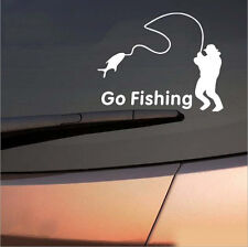 White Go Fishing Car Reflective Graphics Sticker Decal Decor Windshield/Fender