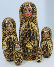 5pcs Hand Made Russian Nesting Doll of Churches Burned Wood Style
