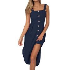 Damen Holiday Irregular Lang Kleid Sommer Strand Knopf strappy Abendkleid PD