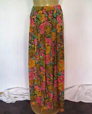 SKIRT Maxi 1980s Vintage Bold floral print Elastic waist Retro Long Boho Gypsy