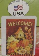 """New Toland Large Flag 28x40"""" """"Welcome"""" Fall Birdhouse Leaves Flowers & Pumpkins"""