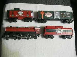 LIONEL #25 CHRISTMAS STEAM LOCO & TENDER NORTH POLE CENTRAL LINE W/ BOXCAR & CAB