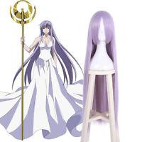 Saint Seiya Athena Saori Kido Cosplay Wig Women Long Light Purple Straight Wigs