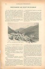 Hospenthal Vallée d'Urseren Pont du Diable canton d'Uri en Suisse GRAVURE 1902