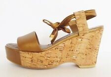 Chanel Gold Leather Cork Wedge Platform Sandals Shoes - Size 7 to 7.5