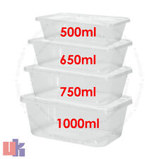 More details for clear plastic quality containers tubs with lids microwave food safe takeaway..
