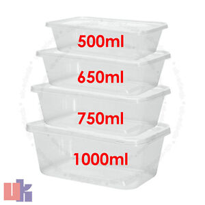 Clear Plastic Quality Containers Tubs with Lids Microwave Food Safe Takeaway..