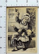 Victorian Trade Card Angry Grandmother Spanking Bare-Bottomed Boy With Shoe F72