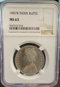 1887 B  British India Empress Victoria Silver Rupee NGC MS 63 Top Pop