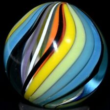 "JODY FINE HANDMADE GLASS MARBLE/.900""-CUBSCOUT RIBBON-INT.ORANGE,MANGO,LIME,TURQ"