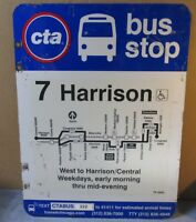 Vtg 2 Sided CTA Bus Stop 7 HARRISON Chicago Aluminum Sign 24 x 18 S597