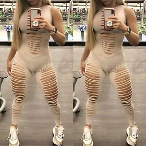 Womens Yoga Sexy Sleeveless Jumpsuit Skinny Trousers Sports Gym Cut Out Playsuit