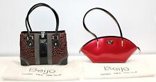 Lot of 2 BEIJO Couture Brown Croc and Red Patent Leather Shoulder Handbag Purse