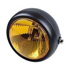 """61/2"""" Black #F Halogen Headlight for Cafe Racer Motor Custom Yellow Amber Lens"""