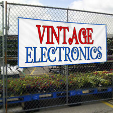 Vinyl Banner Sign Vintage Electronics Vintage Outdoor Marketing Advertising Red