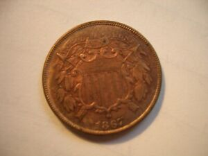 1867 2 Cent Piece  RED and Brown