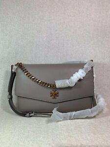NWT Tory Burch Gray Heron KIRA Mixed-material Double-strap Shoulder Bag $528