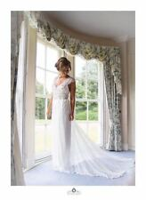 Lace V Neck Regular Size Cap Sleeve Wedding Dresses