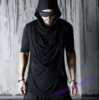 Avant-garde Mens T-shirt Black Asymmetry Hoody Short Sleeve Summer Hot Sale Tops