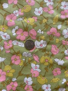 Up to 4 Yards FREE USA SHIPPING! Vintage 60s Deadstock Fabric Green Yellow Floral