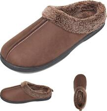 Mens Cozy Fluff House Footwear Slipper Coffee Size 8 - 9 US Cotton Rubber Sole