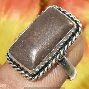 """Natural Agate Gemstone Handmade Ring 925 Silver Plated Us Size 7"""" U372-C113"""