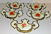 5 Vintage White Drawer Pulls Chippendale Style Handles Salvaged Hardware Rose
